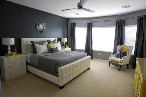 I love the houzz website. As explained on their site about this room, it's  the LITTLE things that make the difference. Take away the trays on the nightstands, the pillows, and the blanket on the bed, and you are left with a sterile room. The yellow makes the room pop. It's not always about replacing the BIG things such as carpet, furniture, etc. Different knobs or accessories can literally change a room's look.