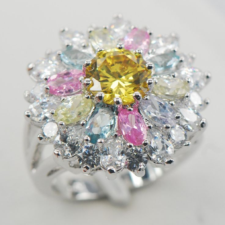 Citrine Pink Sapphire Morganite Aquamarine White Sapphire 925 Sterling Silver Ring Size 6 7 8 9 10 11 A01 www.bernysjewels.com #bernysjewels #jewels #jewelry #nice #bags
