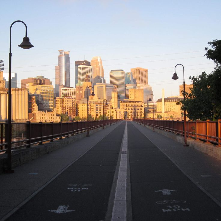 Bike lanes and a view of the Minneapolis skyline. This is a view every Twin Cities commuter can relate to. I really like the perspective of this photo.