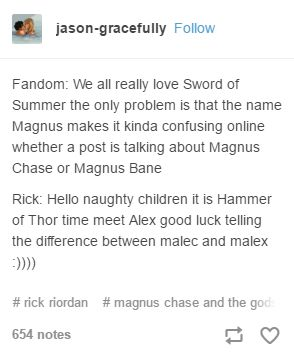 I actually saw a post with Magnus in it earlier and it took me a bit before I knew it was Chase and not Bane