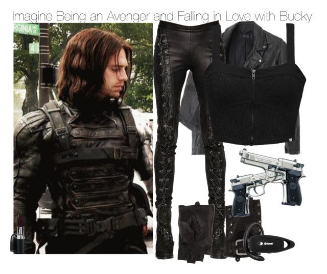 """Imagine Being an Avenger and Falling in Love with Bucky"" by xdr-bieberx ❤ liked on Polyvore featuring Sebastian Professional, American Rag Cie, A.F. Vandevorst, Element, Miss Sixty and MAC Cosmetics"