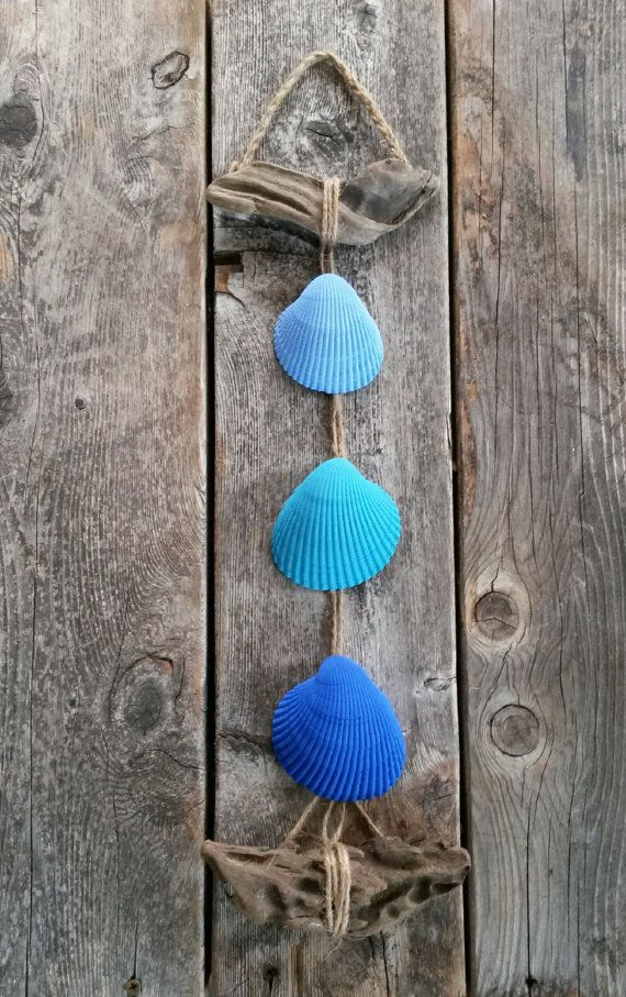 Seashell Hanging Decor Driftwood Cobalt Blue by BeachBungalowInc, $24.00  Nautical Beach House Decor, Beach Wedding Decor, Beach Wedding Favors