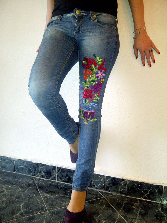 Skinny jeans with authentic hungarian kalocsai motif by MsCikka, $220.00