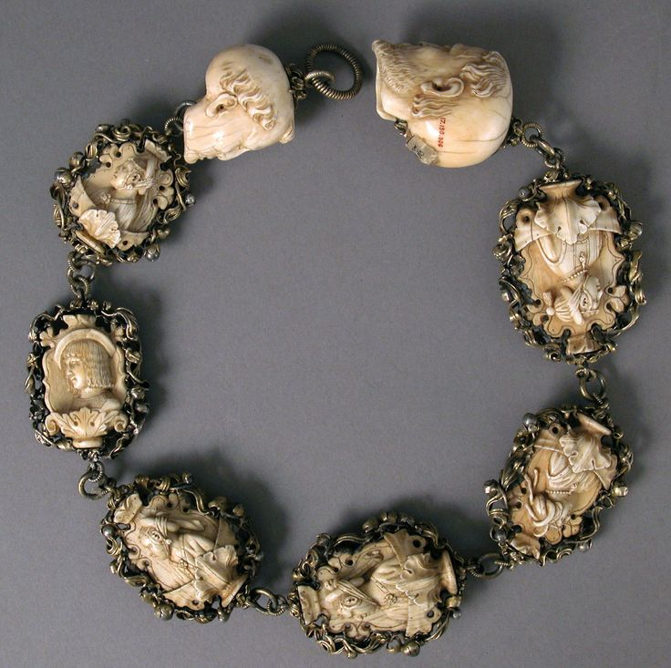 Rosary  Date: ca. 1500–1525 Culture: German Medium: Ivory, silver, and partially gilded mounts Dimensions: Overall: 24 11/16 x 2 1/8 x 1 3/4 in. (62.7 x 5.4 x 4.5 cm) Top Terminal: 1 5/8 x 1 5/16 x 1 1/2 in. (4.2 x 3.4 x 3.8 cm) 2nd bead: 2 1/16 x 1 11/16 x 1 in. (5.2 x 4.3 x 2.6 cm) 3rd bead: 2 3/16 x 1 7/8 x 11/16 in. (5.6 x 4.7 x 1.7 cm) 4th bead: 2 5/16 x 1 15/16 x 1 in. (5.8 x 4.9 x 2.6 cm) 5th bead: 2 9/16 x 2 x 1 1/16 in. (6.5 x 5.1 x 2.7 cm) 6th bead: 2 1/2 x 1 13/16 x 7/8 in. (6.3 x…