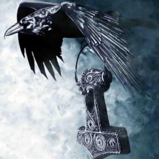 Crows Ravens:  #Raven carrying Thor's Hammer.