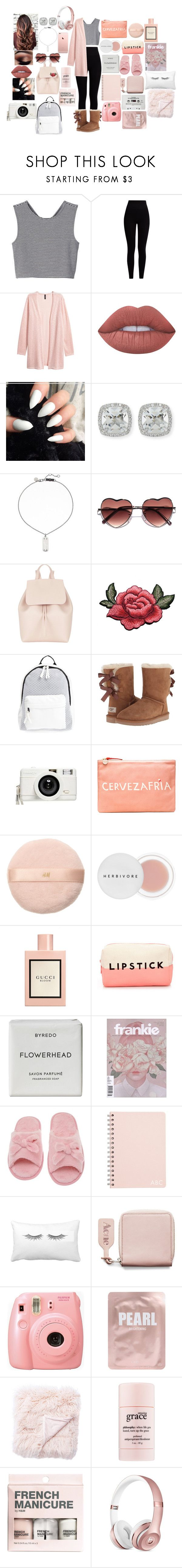 """""""Evangeline Potter"""" by annaconley on Polyvore featuring Monki, Pepper & Mayne, Lime Crime, Frederic Sage, Marc by Marc Jacobs, Mansur Gavriel, Poverty Flats, UGG Australia, Lomography and Clare V."""