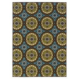 Woven indoor/outdoor rug with a floral-inspired tile motif.   Product: RugConstruction Material: PolypropyleneColor: Blue, green, cream and brownFeatures: Suitable for indoor or outdoor use Note: Please be aware that actual colors may vary from those shown on your screen. Accent rugs may also not show the entire pattern that the corresponding area rugs have.Cleaning and Care: Vacuum regularly and spot clean
