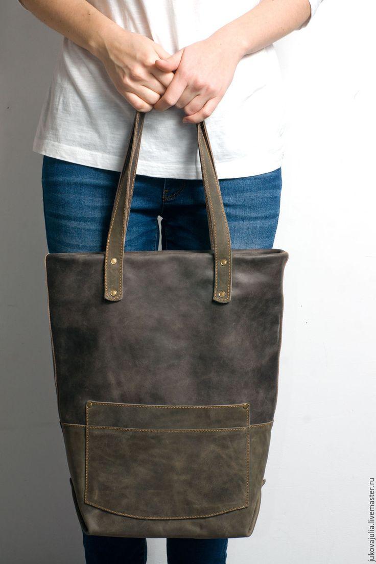 Купить Большая винтажная ретро сумка из натуральной кожи хаки зеленая - хаки, авторская сумка
