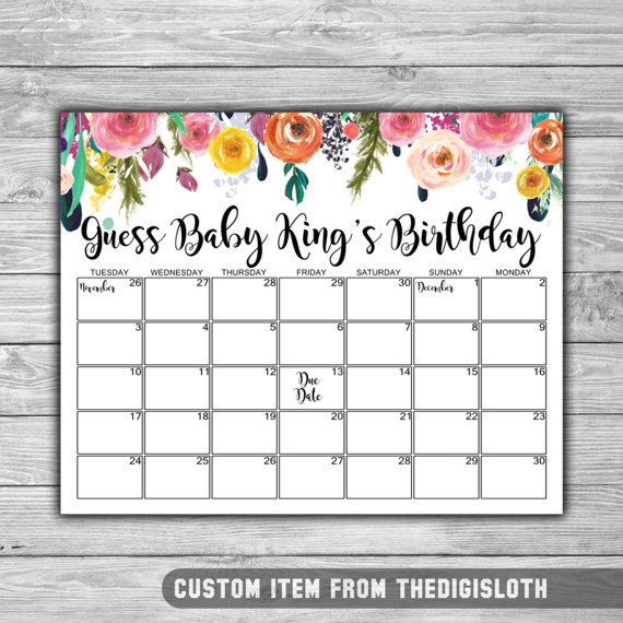 Custom  Floral  Baby Shower  Due Date Calendar  Baby