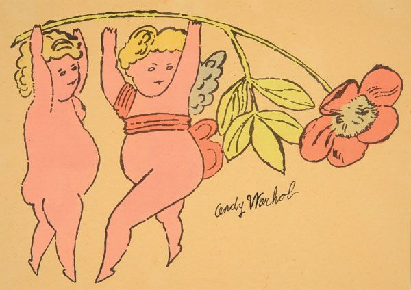 """ANDY WARHOL (American 1928-1987) """"Two Cherubs and a Flower (from In the Bottom of the Garden)"""" 1956, Watercolor over lithograph on paper #michaans http://www.michaans.com/highlights/2014/highlights_06062014.php"""
