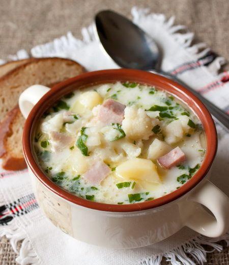 Быстрый суп из цветной капусты с ветчиной Except used smoked turkey instead of ham