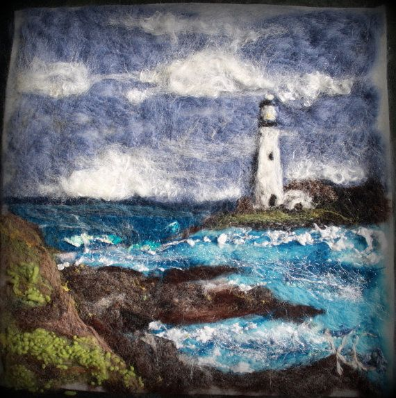 SEASIDE LIGHTHOUSE Landscape Needle Felt Wool by TheWoolyWanderer