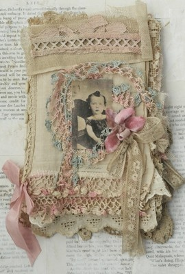 Mixed Media Fabric Collage Book of Amour Et Rose | eBay