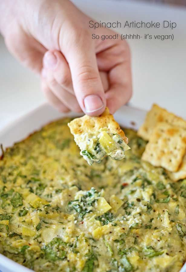 Spinach Artichoke Dip {Vegan} A perfect game day appetizer or side.  Great for #MeatlessMondayNight #ad on kleinworthco.com: