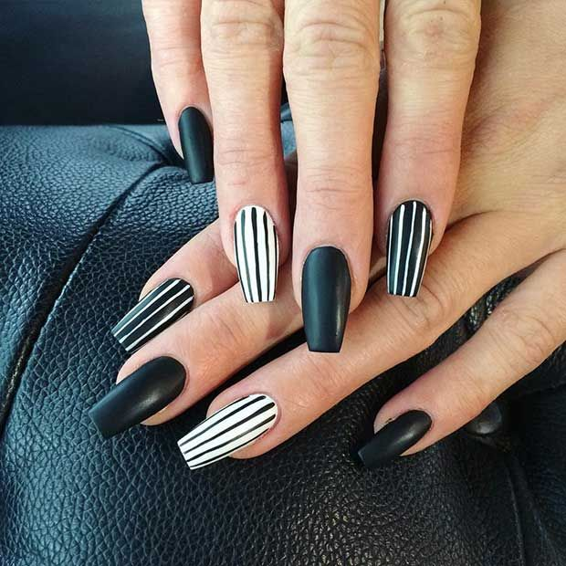 Black and White Stripe Nail Design for Long Nails