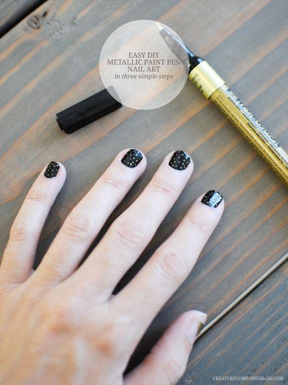 Metallic paint pen nail art