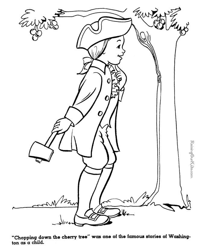President George Washington Coloring Pages Tree Coloring Page Coloring Pages George Washington Preschool