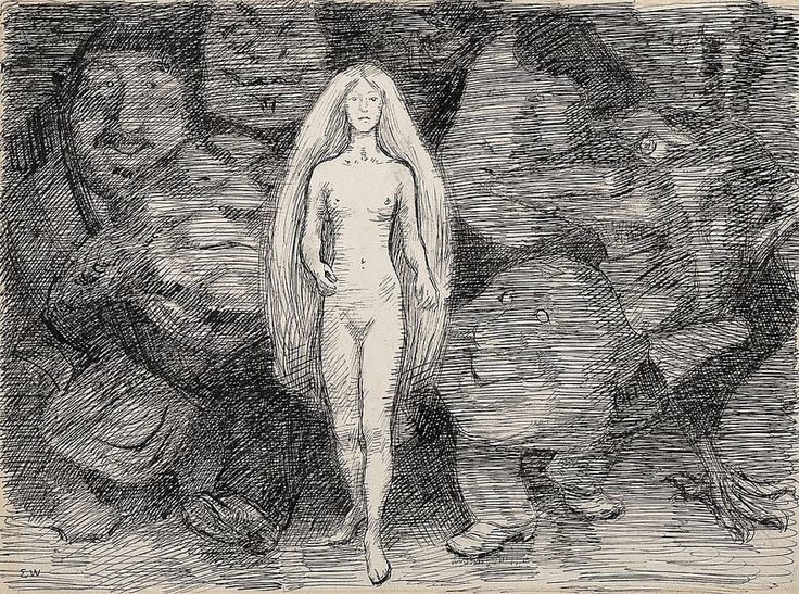 Erik Theodor Werenskiold - Nude Female With Trolls