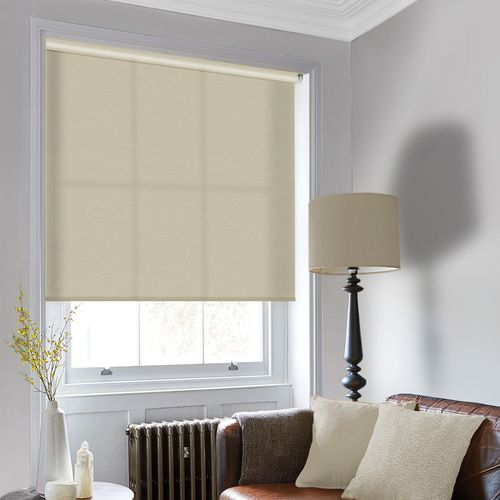 Classic natural cream roller blind that will add a stylish luxury to your home.