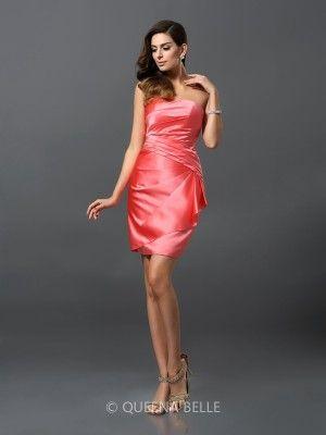 Sheath/Column Sleeveless Satin Strapless Short/Mini Ruched Dresses - Short Prom Dresses - Prom Dresses - QueenaBelle 2017
