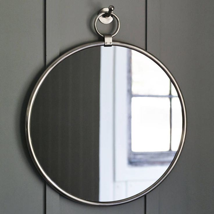 indar hanging mirror and hook, matt nickel by rowen & wren…