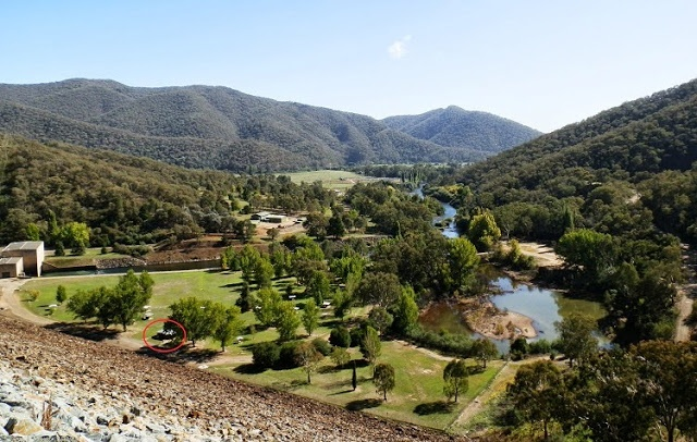 Blowering Dam Wall Picnic area - loo circled in RED! via Tumut, New South Wales