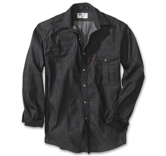 Levis/Filson Denim Shooting Shirt. The right shoulder has a reinforced patch.
