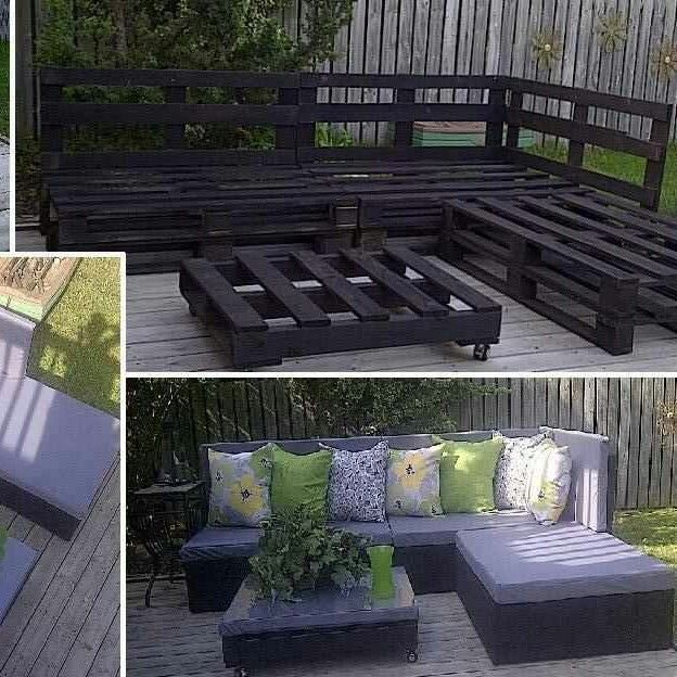 Wood pallet patio furniture  Daaaaaan.... can we do this?