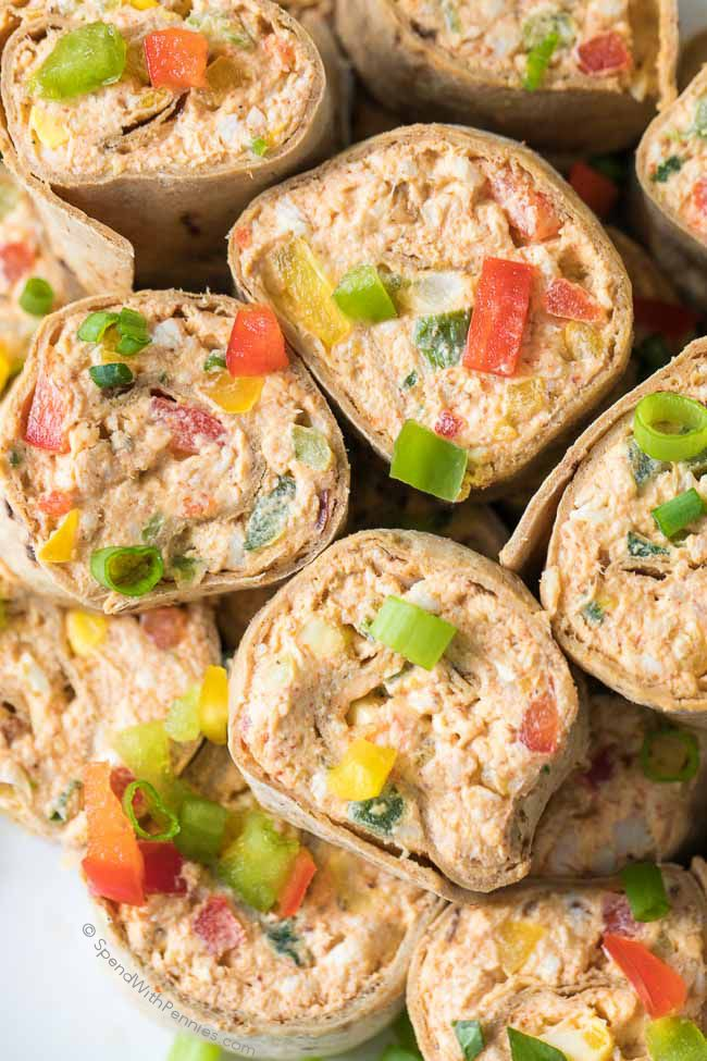Mexican Pinwheels are the perfect appetizer with cream cheese, cheddar cheese, chicken and bell peppers all wrapped in a delicious flatbread!