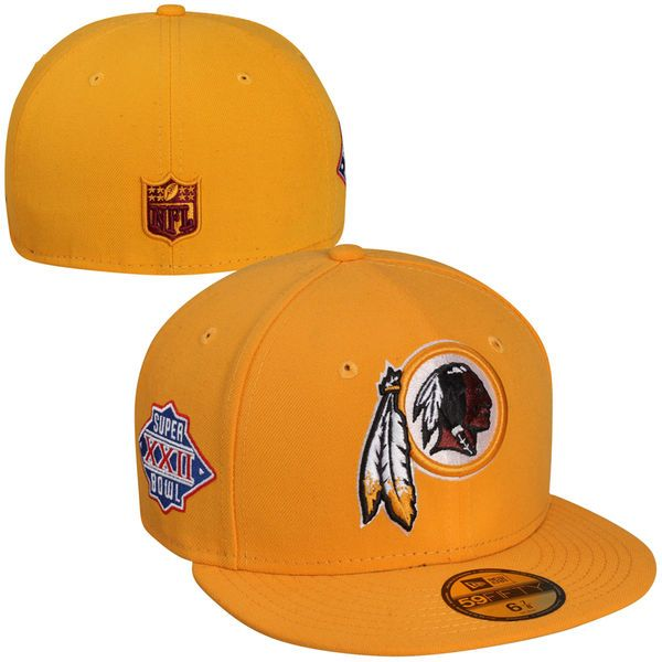 New Era Washington Redskins Super Bowl XXII Side Patcher 59FIFTY Fitted Hat - Gold - $17.99