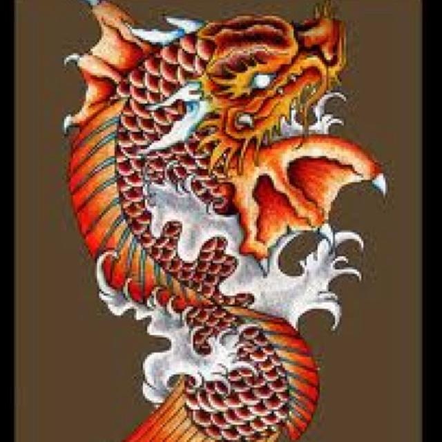 Koi Fish Dragon Gate Tattoo