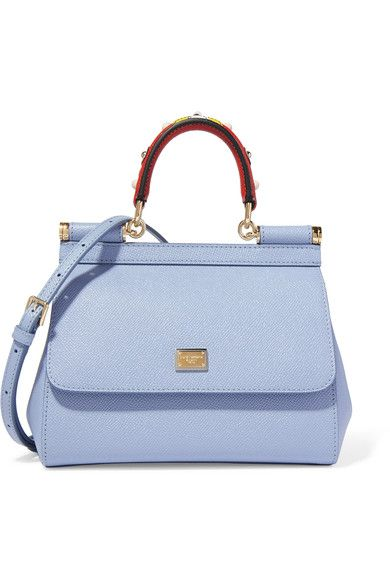 Blue textured-leather (Calf) Snap-fastening front flap Comes with dust bag Weighs approximately 2lbs/ 0.9kg Made in Italy
