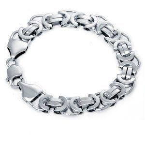 Sterling Silver Flat Byzantine Link Bracelet Sea of Diamonds. $99.00