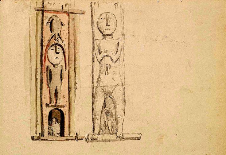 Pali Frontali Intagliati delle Case Songhees. Le grandi case di assi dei Songhees presentavano un grosso palo frontale intagliato con figure mitologiche e creste famigliari, nel quale era ricavato l'ingresso dell'abitazione.