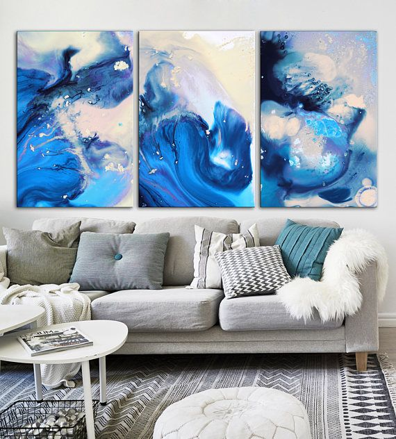 Vibrant blue abstract painting print blue abstract printnavy