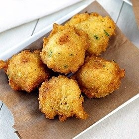 squash puppies with roasted jalapeno mayo. must try. sans the jalapeno.