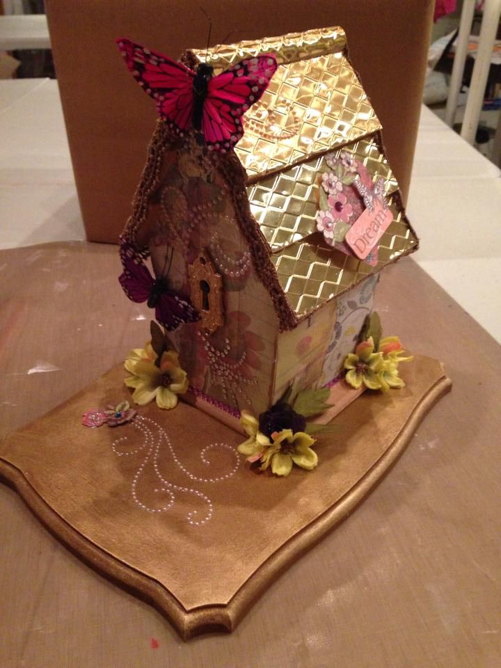 Altered birdhouse - side view