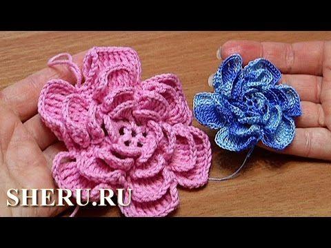 How to crochet Fluffy Flower Урок 4 Как вязать объемный Цветок - YouTube