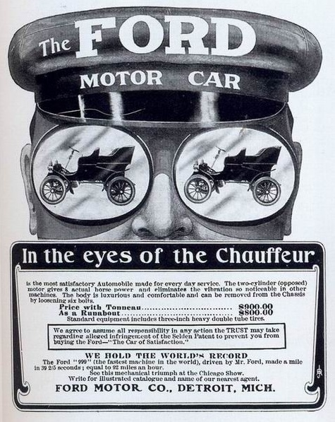 Today's history fun: Before the Ford Motor Company, there was a PREVIOUS Ford company called The Henry Ford Company. But he got into a dispute with his partner Henry LeLand in 1902 and Ford left.  Leland took over and named it (are you ready?) The Cadillac Motor Company. This ad mentions the 999 so this ad is from 1902 or '03.