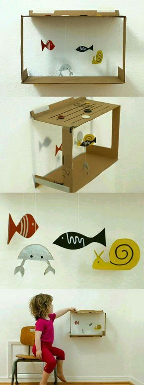 Hanging aquarium craft for kids (made from a cardboard box)