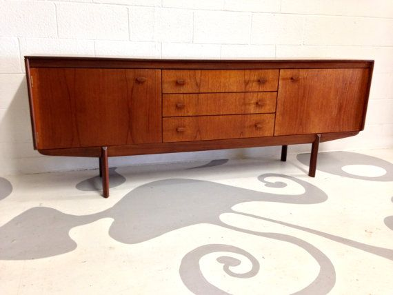 Mid Century Modern Credenza, Sideboard In Teak With 3 Drawers Manufactured  By White U0026 Newton