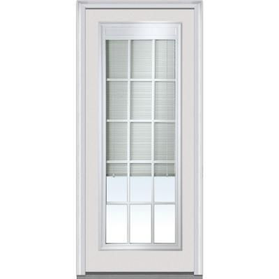 Milliken Internal Mini Blinds Full Lite Prehung Primed White Builder 39 S Choice Steel Entry Door