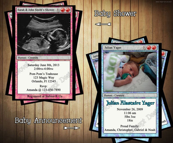 Diy Magic The Gathering Baby Shower Or Baby Announcement
