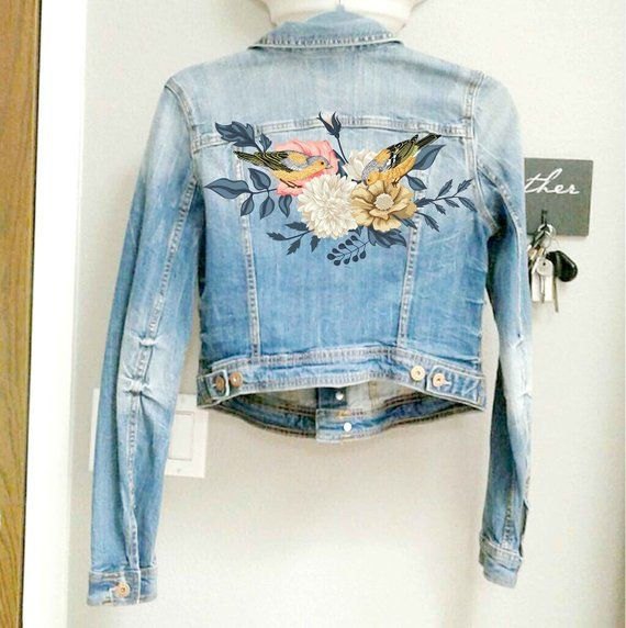Denim Pale Blue Embroidered Applique Placement Flower Top T Shirt