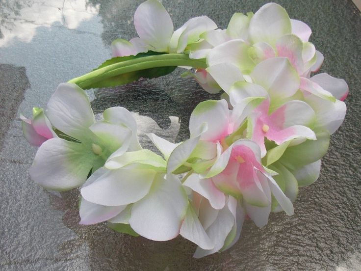 White, Pink, and Light Green Hydrangea Flower Headband, Hydrangea Floral Crown, Wedding Wreath, for Flower Girls, Fairies, and Festivals D06 by FairyFlowerDreams on Etsy