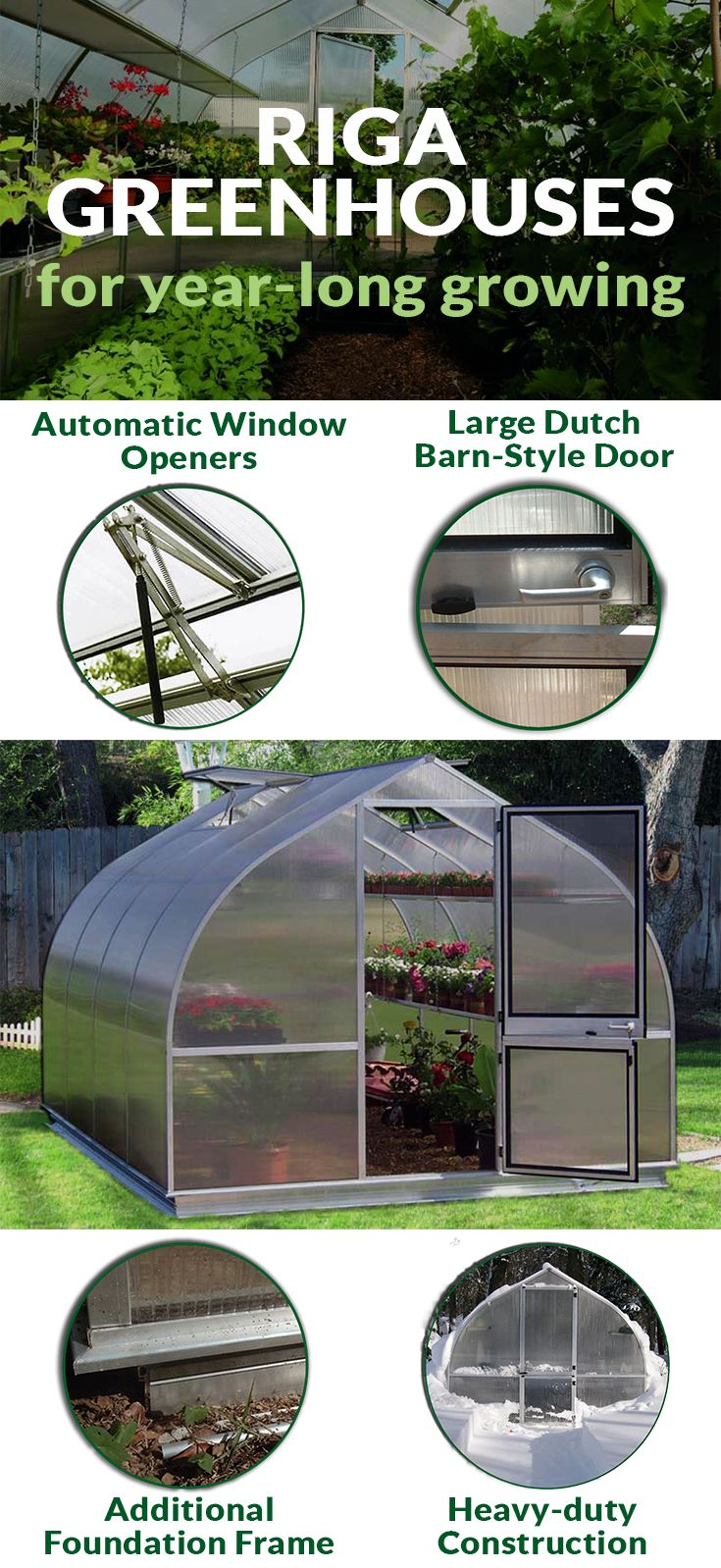 Riga Greenhouses are made to withstand heavy winters and winds. Its onion-shaped construction is powerful and the 8mm-thick twin-walled polycarbonate protects your plants even in winter. The Riga line by Hoklartherm is a greenhouse for year-round gardening. Find the right size in our shop! #greenhouse #gardening