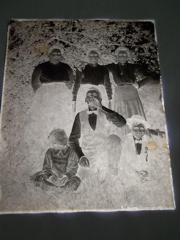 "VINTAGE 5"" x 4"" GLASS PLATE PHOTO NEGATIVE - FAMILY - #47"
