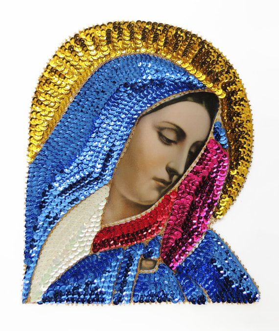large colorful VIRGIN Mary, sequin applique patch It is made with pink, red blue, yellow/gold sequins and framed with gold beads. Measures