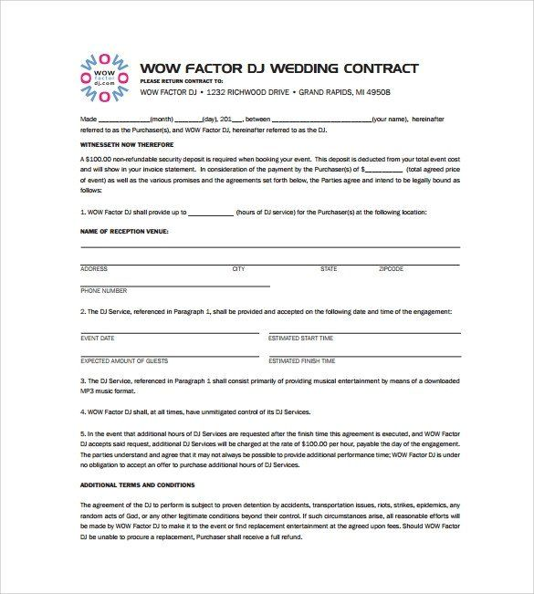 Contract For Photography Services Word Free Download Contract
