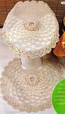CROCHE: Set of string rugs for bathroom